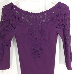 Free People Stretch Top w Cut Out Lace XS/S